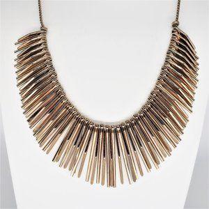 Natasha Couture Spike Gold Tone Statement Necklace